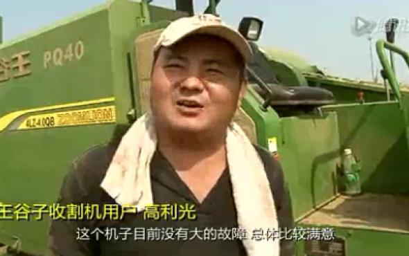 中聯谷王PQ40谷子自走式聯合收割機作業視頻