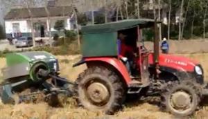 秸秆禁烧秸秆综合利用之湖北石首打捆现场--上海世达尔方草捆打捆机