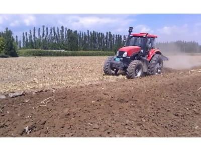 郑州龙丰B450栅条犁配套东方红1804高茬玉米地耕作视频