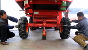 转向轮前束调整--春雨4LZ-7小麦收获机的调整保养