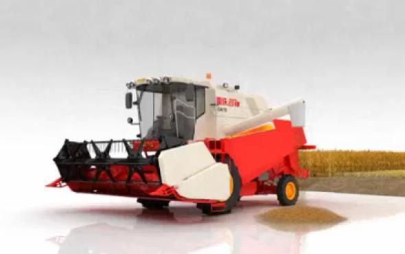 福田雷沃谷神GN70小麥收割機3D作業演示