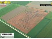 壯觀!牛人用拖拉機畫出巨幅基督雕像 向里約奧運致敬