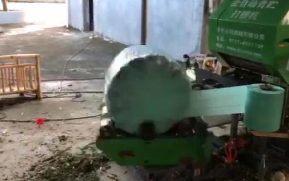 曲阜圣隆5552网子青贮打捆缠捆机作业视频