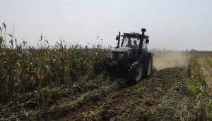 農神1LFT-360翻轉犁配套雷沃1604拖拉機高粱地耕地作業