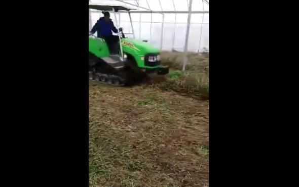 億森履帶拖拉機大棚作業視頻