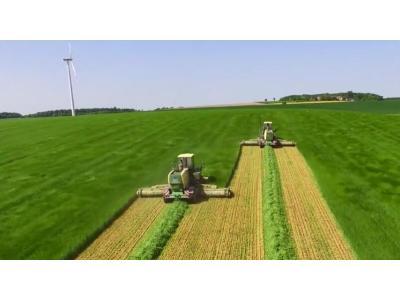 瑞海-科罗尼自走式割草机进行牧草收割作业